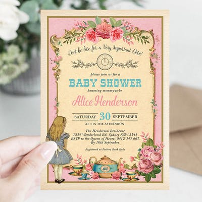 Alice Wonderland Pink Baby Shower Invitation