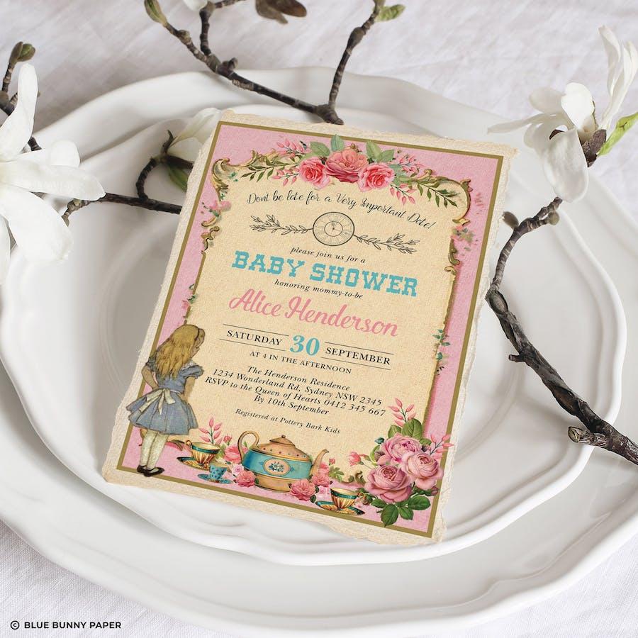 Alice Wonderland Pink Baby Shower Invitation