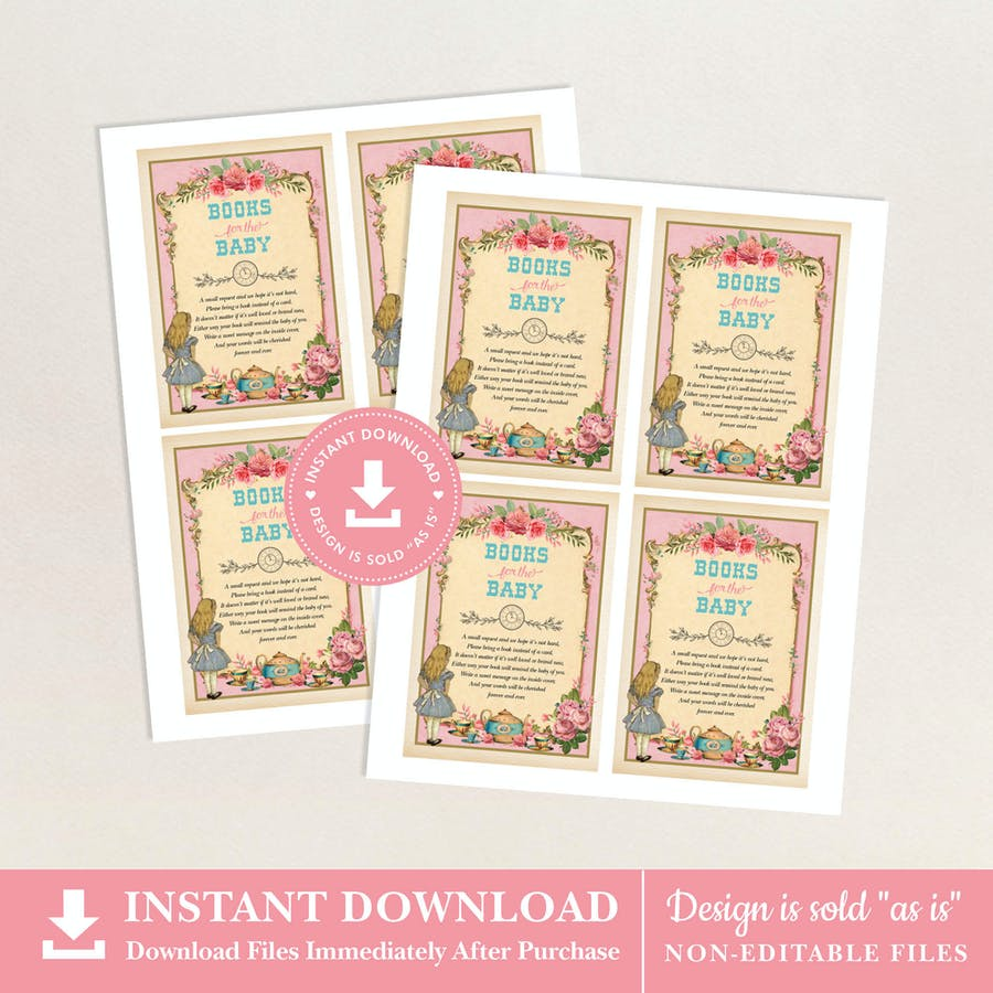 Alice in Wonderland Pink Books for Baby Card