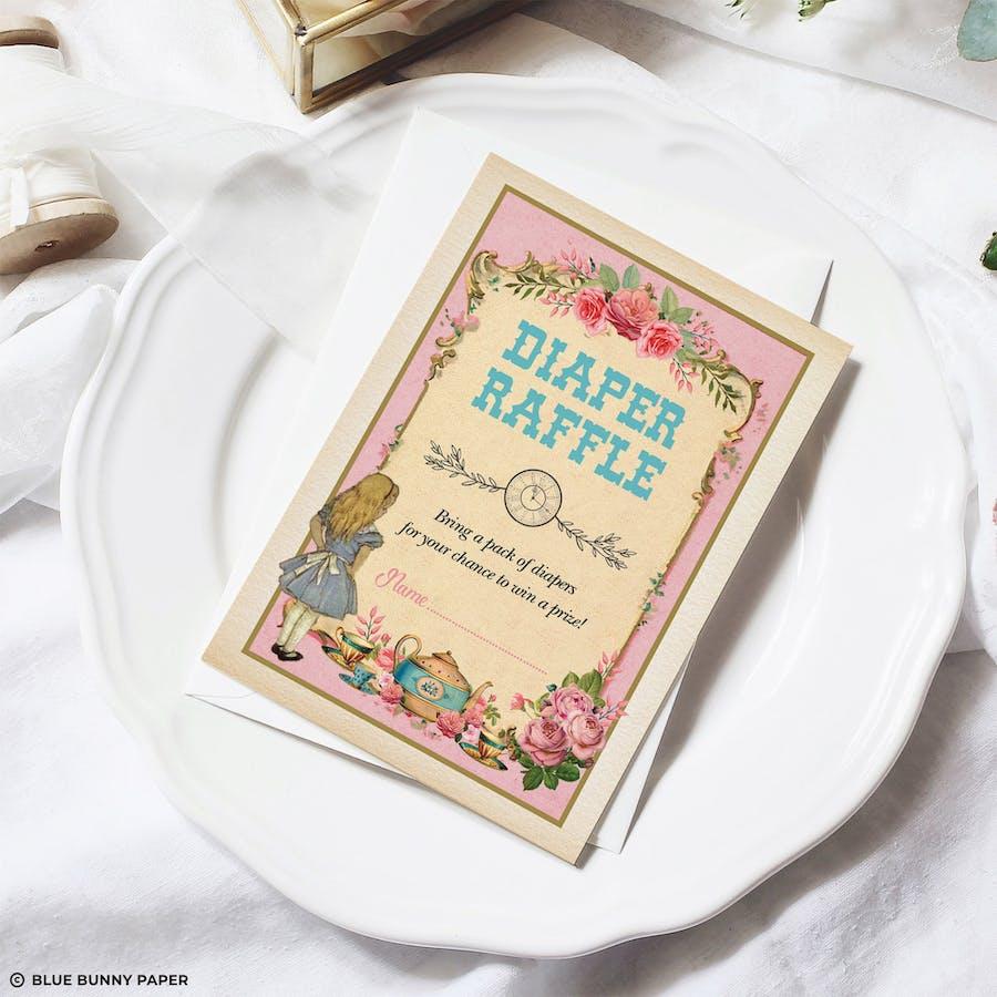 Alice in Wonderland Pink Diaper Raffle