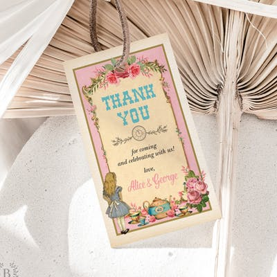 Alice in Wonderland Pink Favor Tags