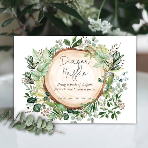 Rustic Greenery Diaper Raffle Cards