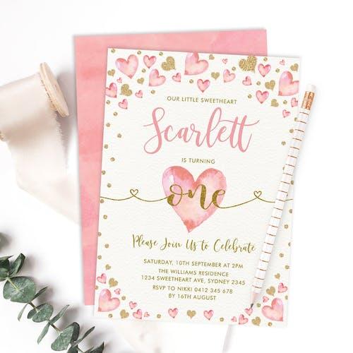 Valentine's 1st Birthday Invitation