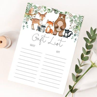 Gift List Card