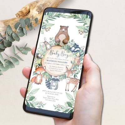 Electronic Woodland Baby Shower Invitation