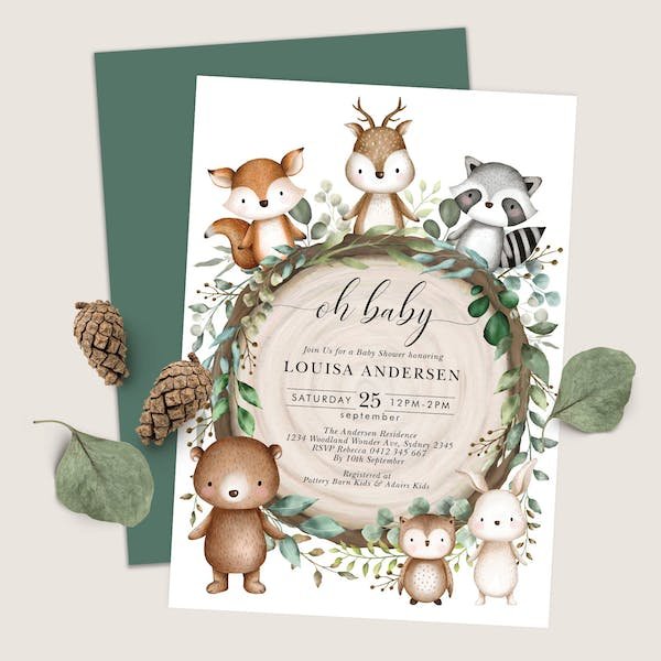 Baby Shower Invitation - In the Woods