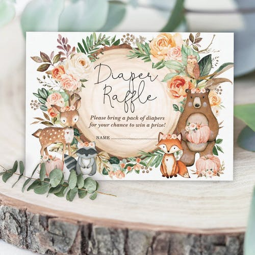 Woodland Diaper Raffle Cards
