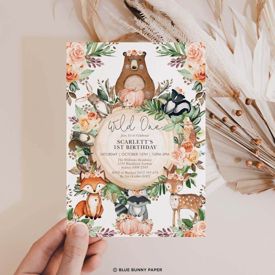 Fall Woodland Birthday Invitation