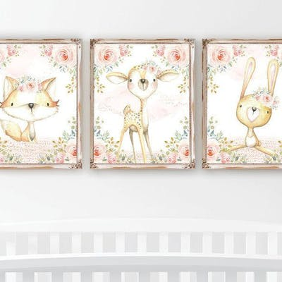 Woodland Animals Nursery Art