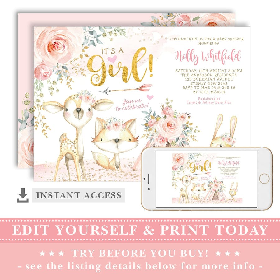 It's a Girl - Baby Shower Invite