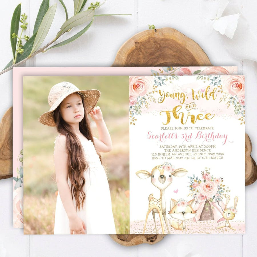 Young Wild and Three - Birthday Invite