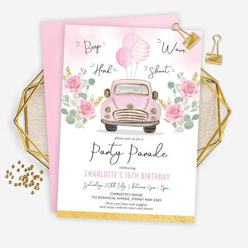 Pink Car Birthday Party Parade Invitation