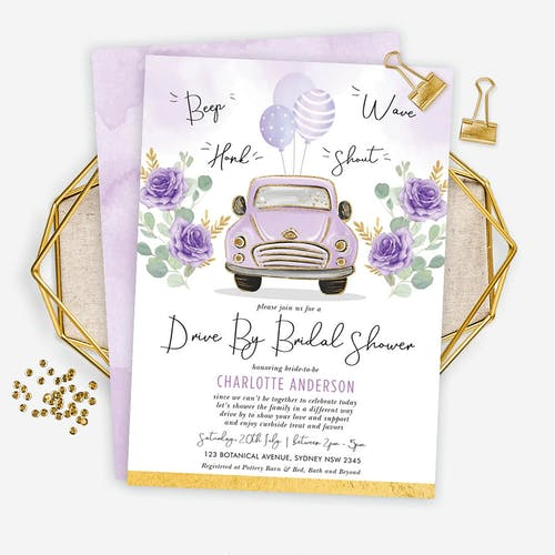 Drive By Bridal Shower Invite