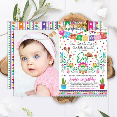 Mexican Fiesta Photo Birthday Party Invitation