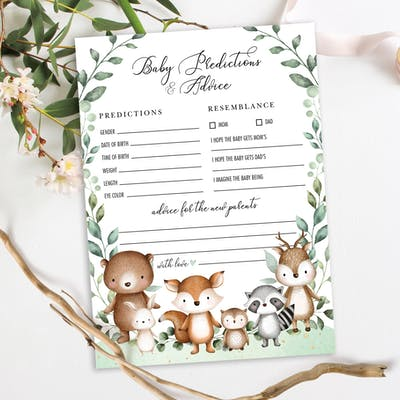 Woodland Baby Shower Predictions & Advice Game