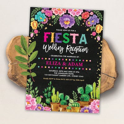 Mexican Fiesta Wedding Reception Invite