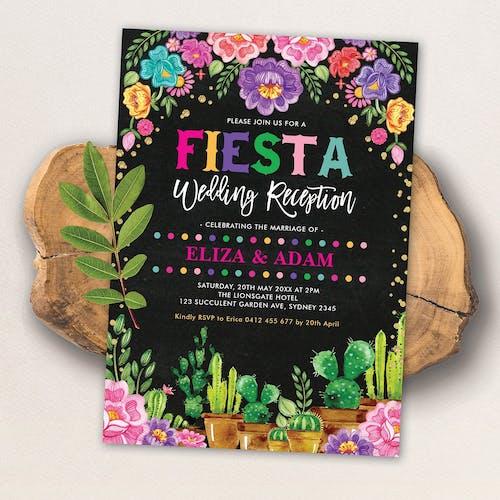 Mexican Fiesta Wedding Reception Invite