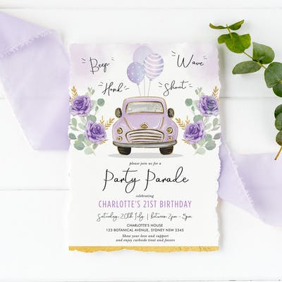 Purple Car Birthday Party Parade Invite