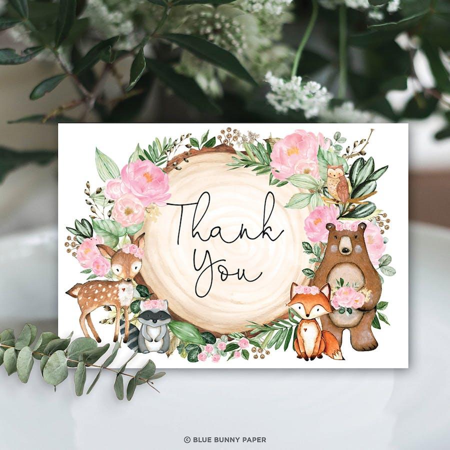 Woodland Animals Folded Thank You Card