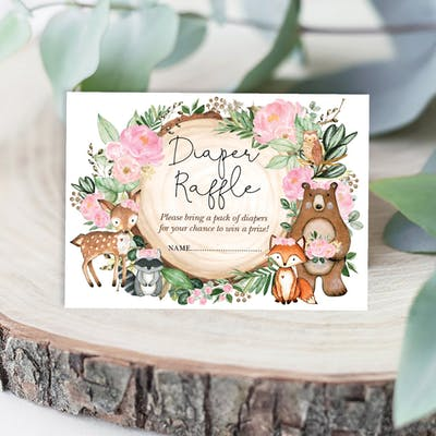 Woodland Diaper Raffle Card