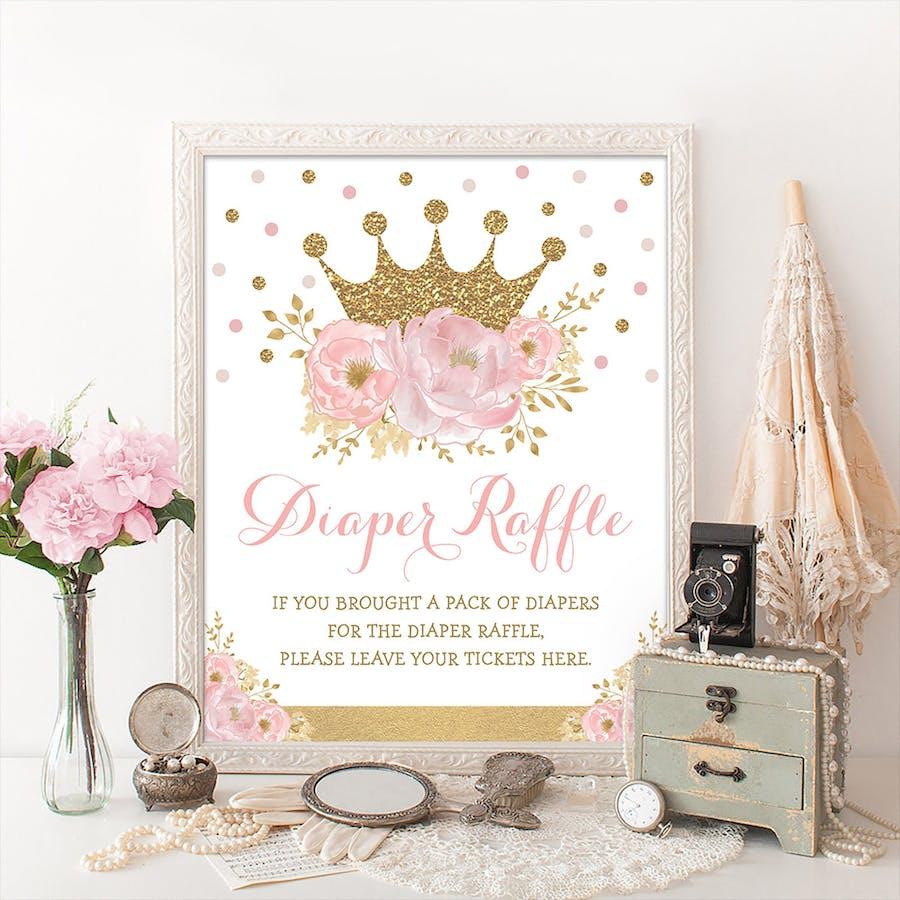 Princess Diaper Raffle Party Sign
