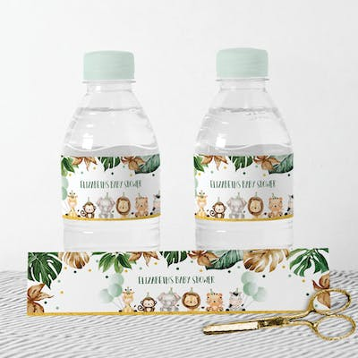 Jungle Animals Bottle Label