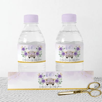 Purple Car Water Bottle Labels