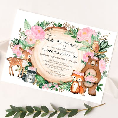 Girl Woodland Baby Shower Invitation