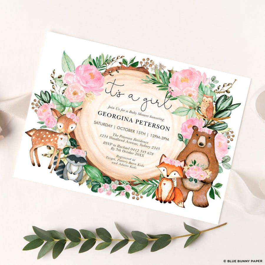 Girl Woodland Baby Shower Invitation