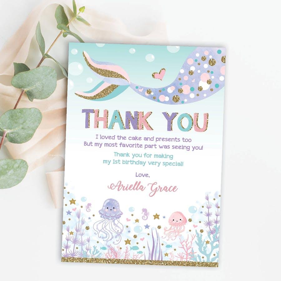 Mermaid Birthday Thank You Card