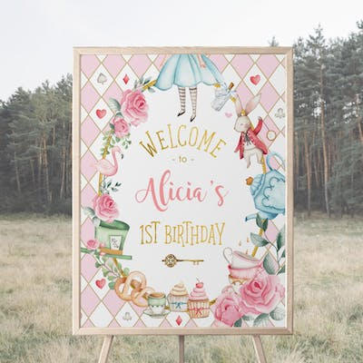 Alice in Wonderland Party Welcome Sign