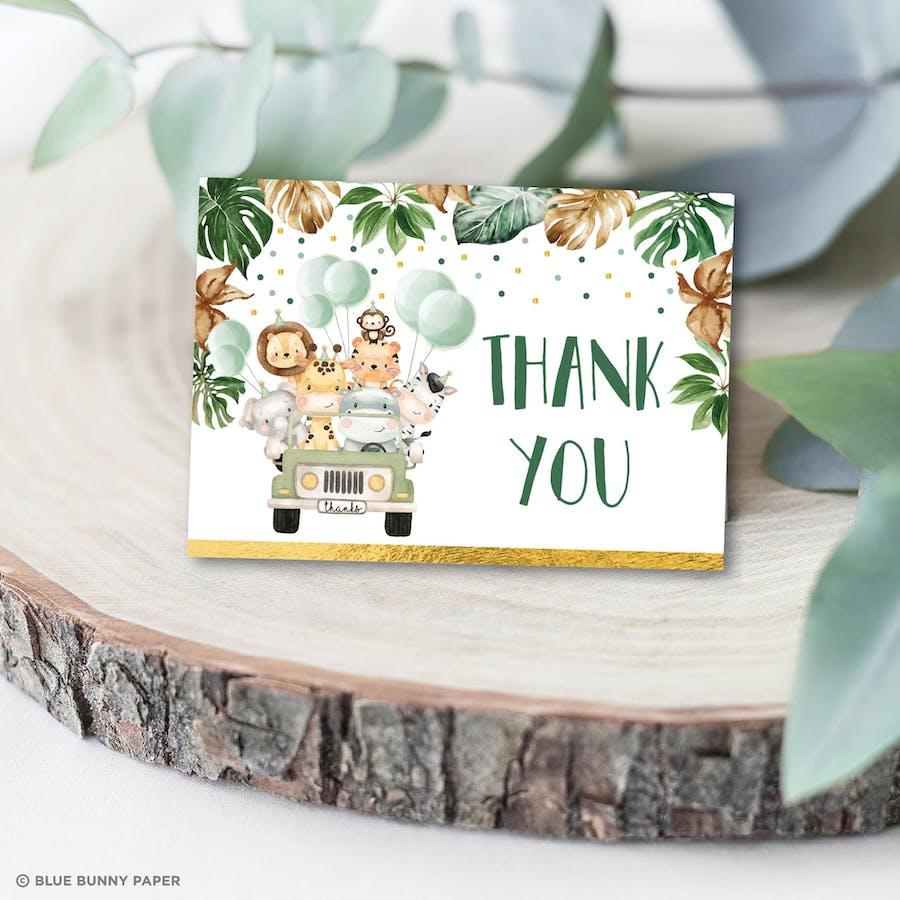 Jungle Animals Thank You Card