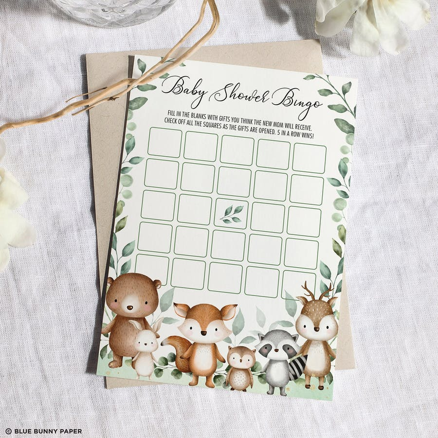 Woodland Baby Shower Bingo Card