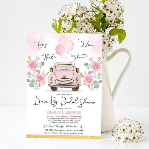Pink Drive By Bridal Shower Invite