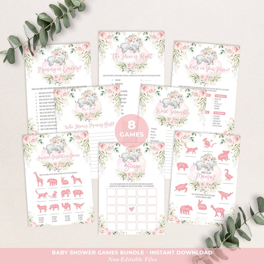 Girl Elephant Baby Shower Games Package