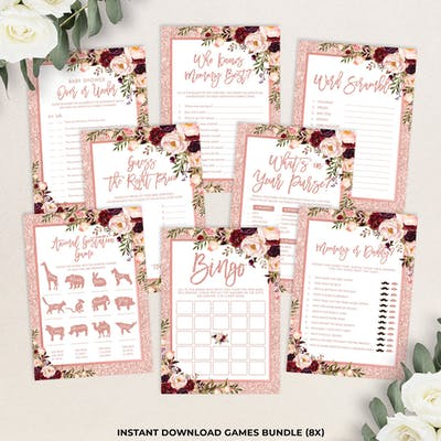 Rose Gold Baby Shower Games Bundle