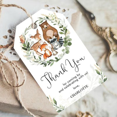 Woodland Animals Favor Tags
