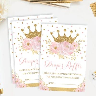 Princess Baby Shower Diaper Raffle Card