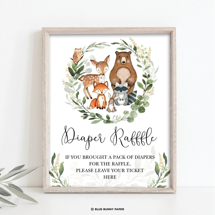 Woodland Diaper Raffle Party Sign