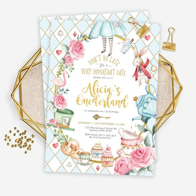 Alice in Wonderland 1st Birthday Invitation