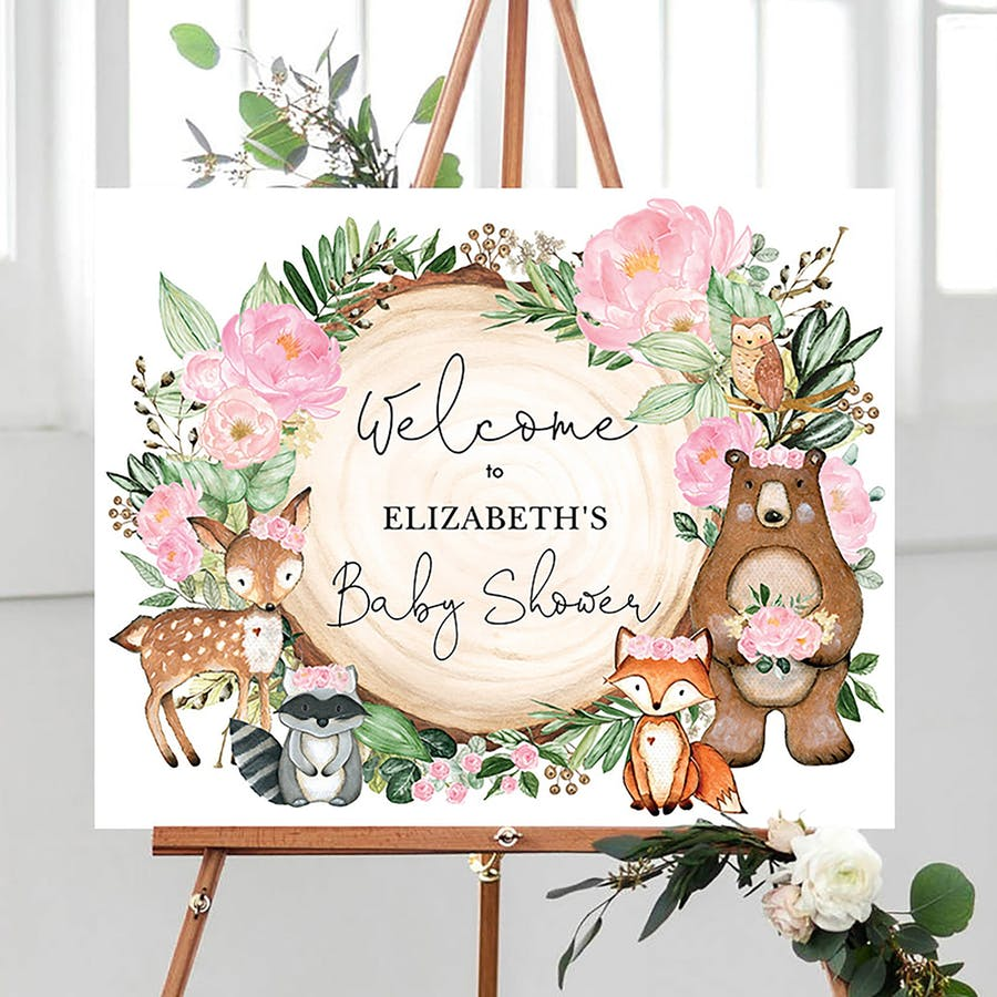 Woodland Party Welcome Sign