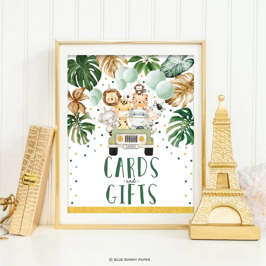 Jungle Animals Cards and Gifts Sign