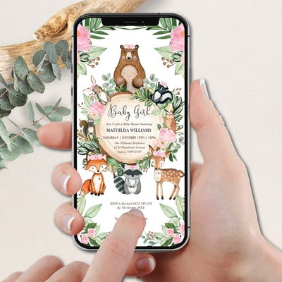 Woodland Digital Baby Shower Invite