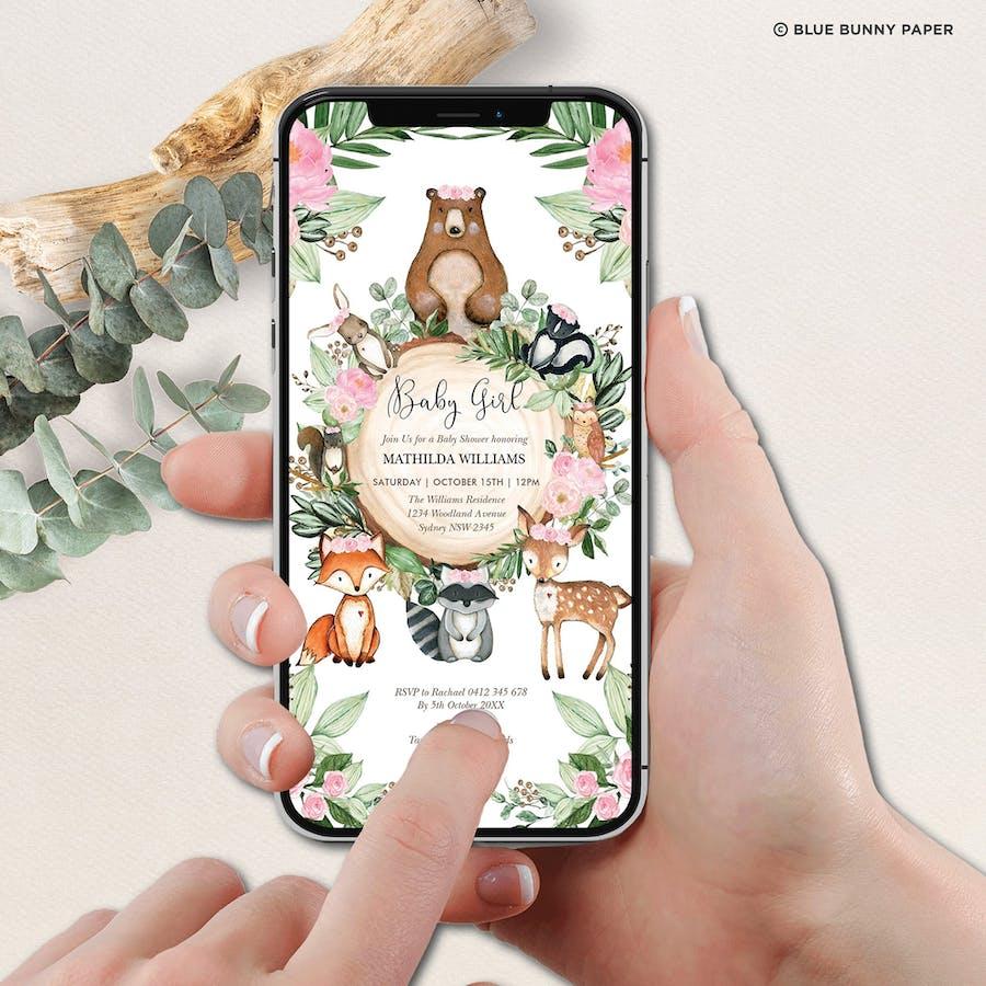 Woodland Digital Baby Shower Invite