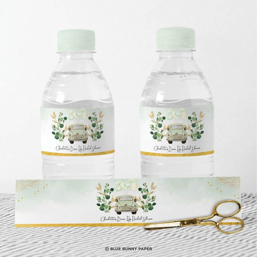 Green Car Water Bottle Label