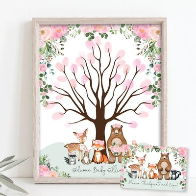 Woodland Animals Thumbprint Guestbook