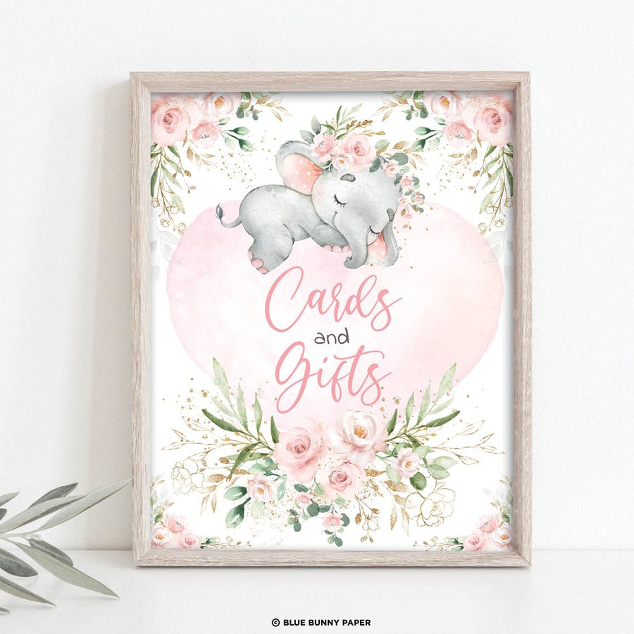 Girl Elephant Cards and Gifts Party Sign