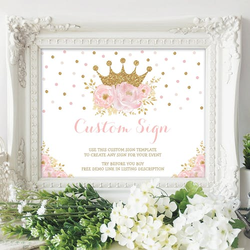 Princess Custom Party Sign