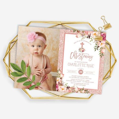 baptism christening photo invitation
