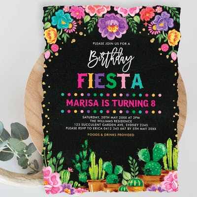 Mexican Fiesta Birthday Invitation